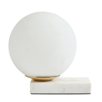 Nordal ENYO table lamp, matt white w/marble