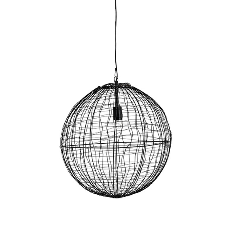 Nordal-collectie SELENE hanging lamp, black iron ball S