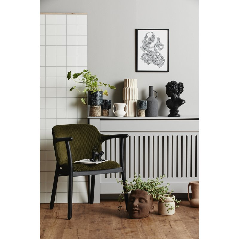Nordal-collectie RESO tall pot, M, black/white