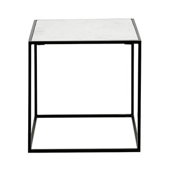Nordal CUBE side table, white marble, S