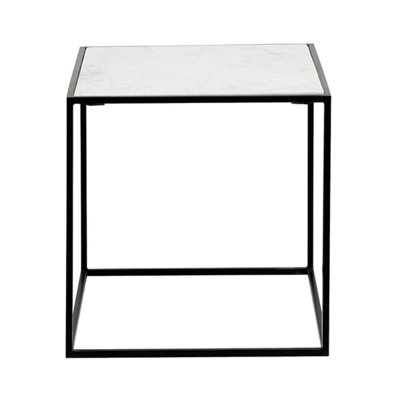 Nordal-collectie CUBE side table, white marble, S