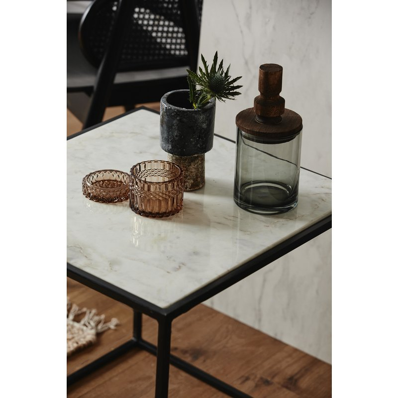 Nordal-collectie CUBE side table, white marble, L