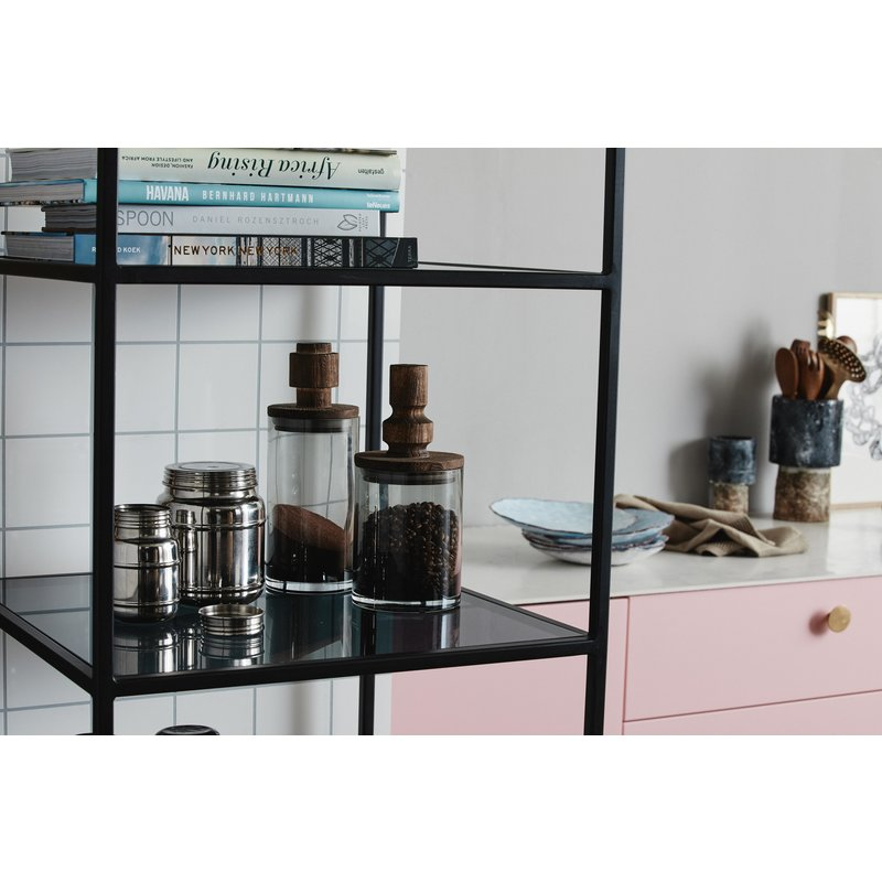 Nordal-collectie ORINOCO metal rack, L, 6 shelves, glass
