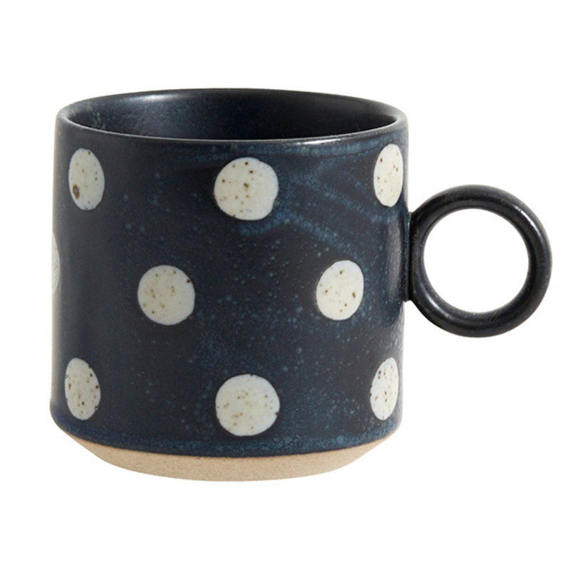 Nordal-collectie GRAINY cup w. handle, dark blue/sand