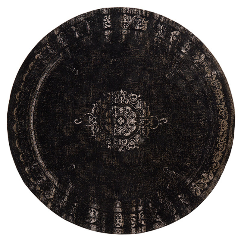 Nordal-collectie Vloerkleed rond GRAND 240cm zwart/grijs