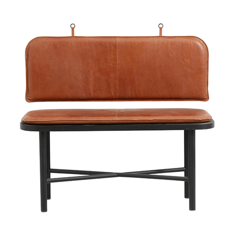 Nordal-collectie GILA bench, wood w/leather cushion