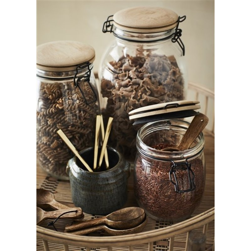 Madam Stoltz-collectie Glass jar w/ bamboo lid