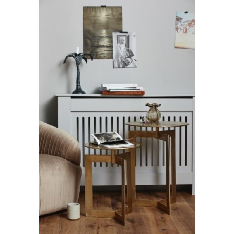 Nordal-collectie NYASA golden side tables, round s/2