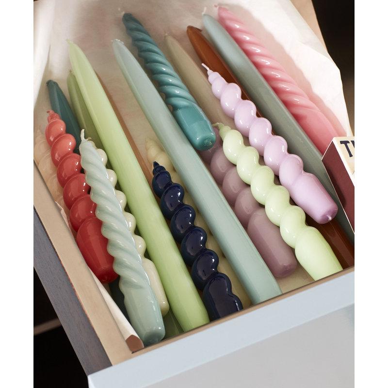HAY-collectie Kaarsenset Spiral Lichtblauw - groenblauw - roze