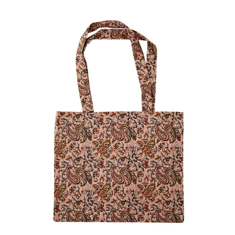 Madam Stoltz-collectie Totebag print dusty roze, tapenade, abrikoos