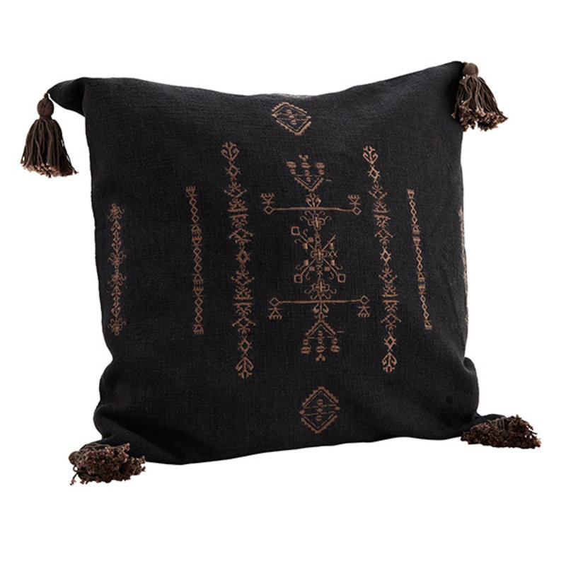 Madam Stoltz-collectie PRINTED CUSHION COVER W/ TASSELS