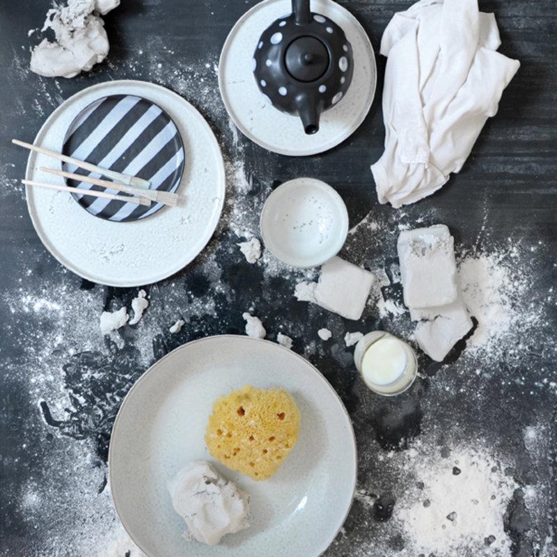 HKliving-collectie Ontbijtbord keramiek Bold&Basic Off white