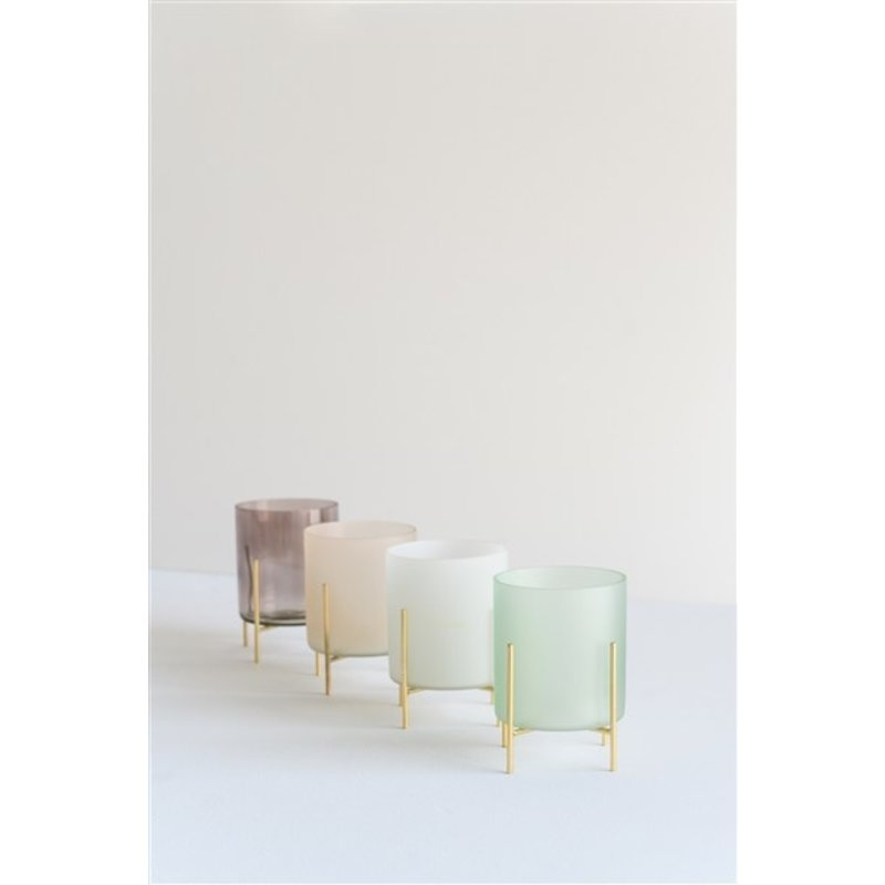 Urban Nature Culture-collectie Wax light holder on foot, frosted white in gift pack