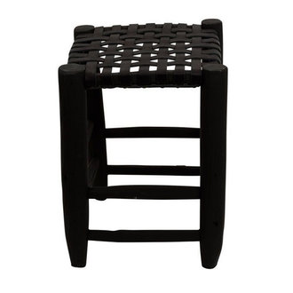 Household Hardware Stool L black with black leather seating