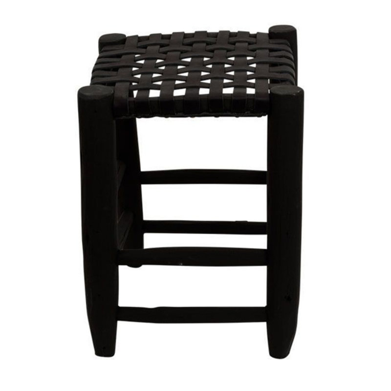 Household Hardware-collectie Stool L black with black leather seating