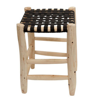 Household Hardware Stool S natural with black leather seating