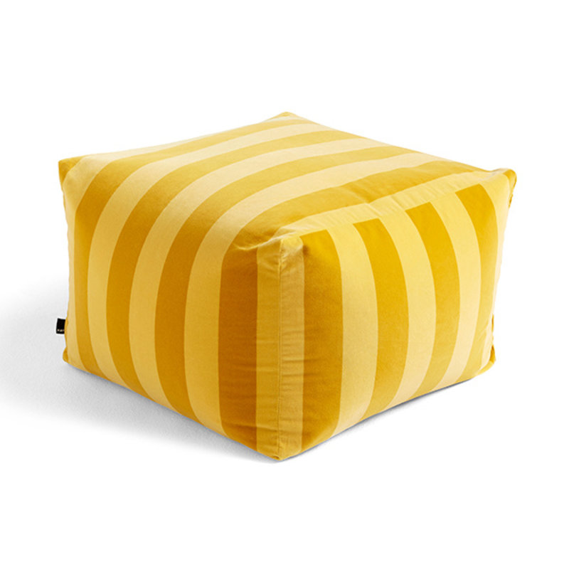 HAY-collectie Pouf met zachte strepen Yellow Limited edition