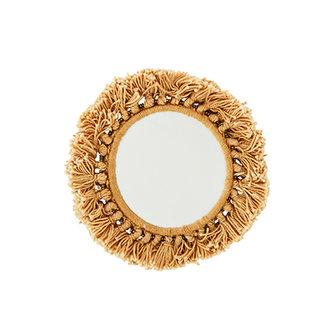Madam Stoltz Pocket mirror w/fringes mustard