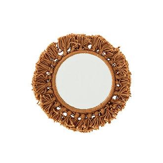 Madam Stoltz Pocket mirror w/fringes brick