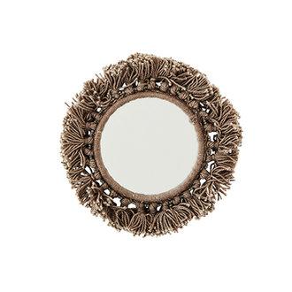 Madam Stoltz Pocket mirror w/fringes grey