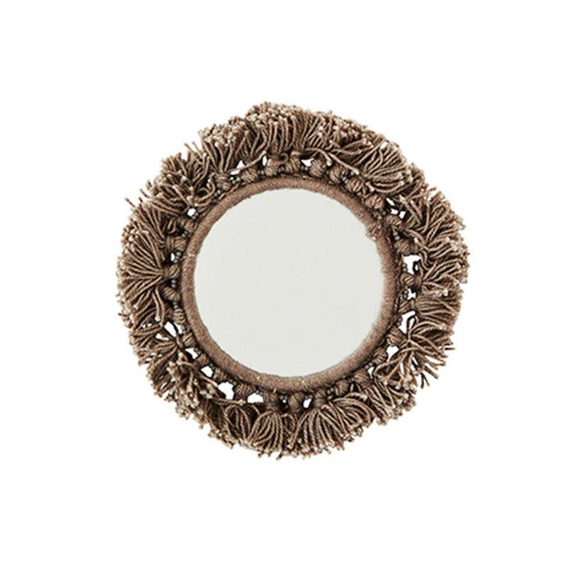 Madam Stoltz-collectie Pocket mirror w/fringes grey