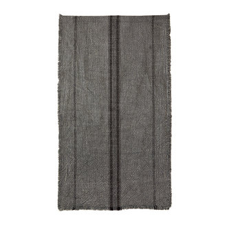 Madam Stoltz Striped runner w/fringes dark grey