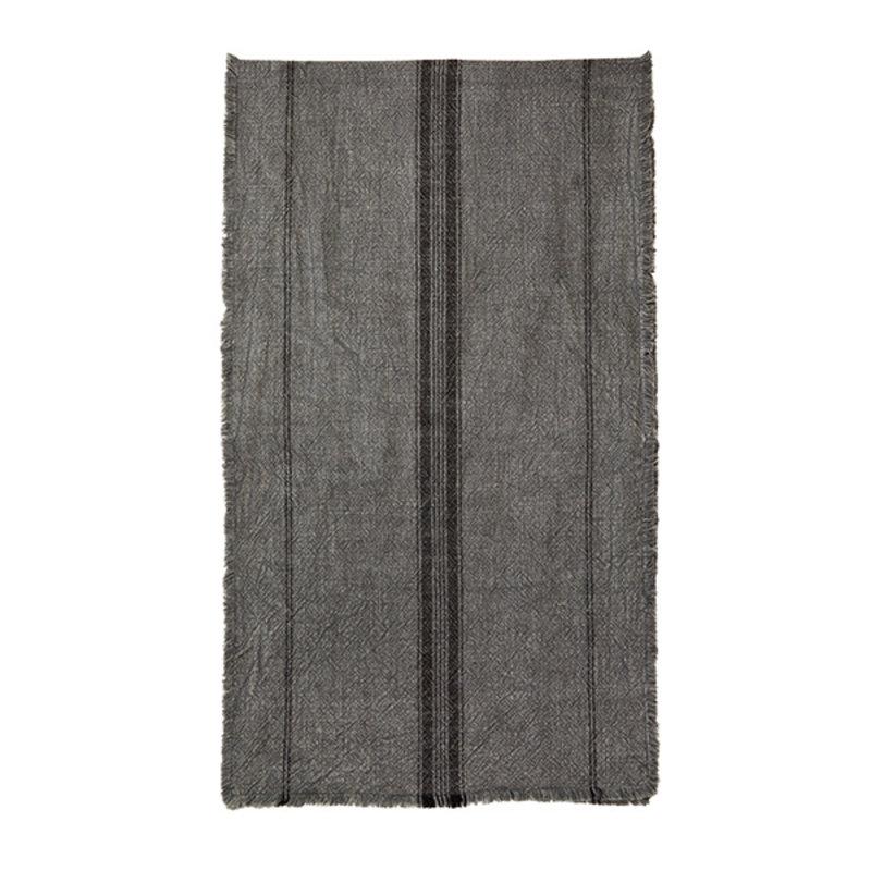 Madam Stoltz-collectie Striped runner w/fringes dark grey