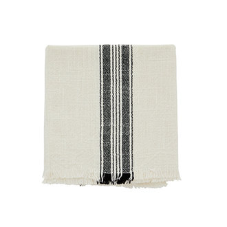 Madam Stoltz Striped kitchen towel w/fringes off white
