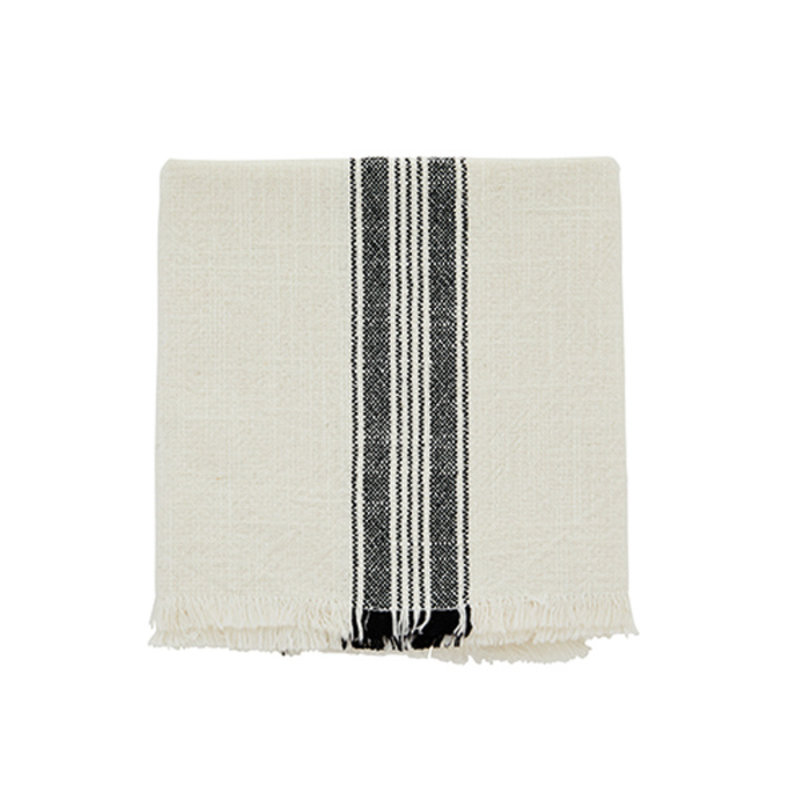 Madam Stoltz-collectie Striped kitchen towel w/fringes off white