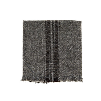 Madam Stoltz Striped kitchen towel w/fringes dark grey