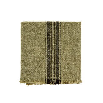 Madam Stoltz Striped kitchen towel w/fringes khaki