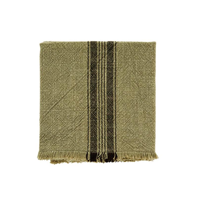 Madam Stoltz-collectie Gestreepte keukendoek khaki met franjes