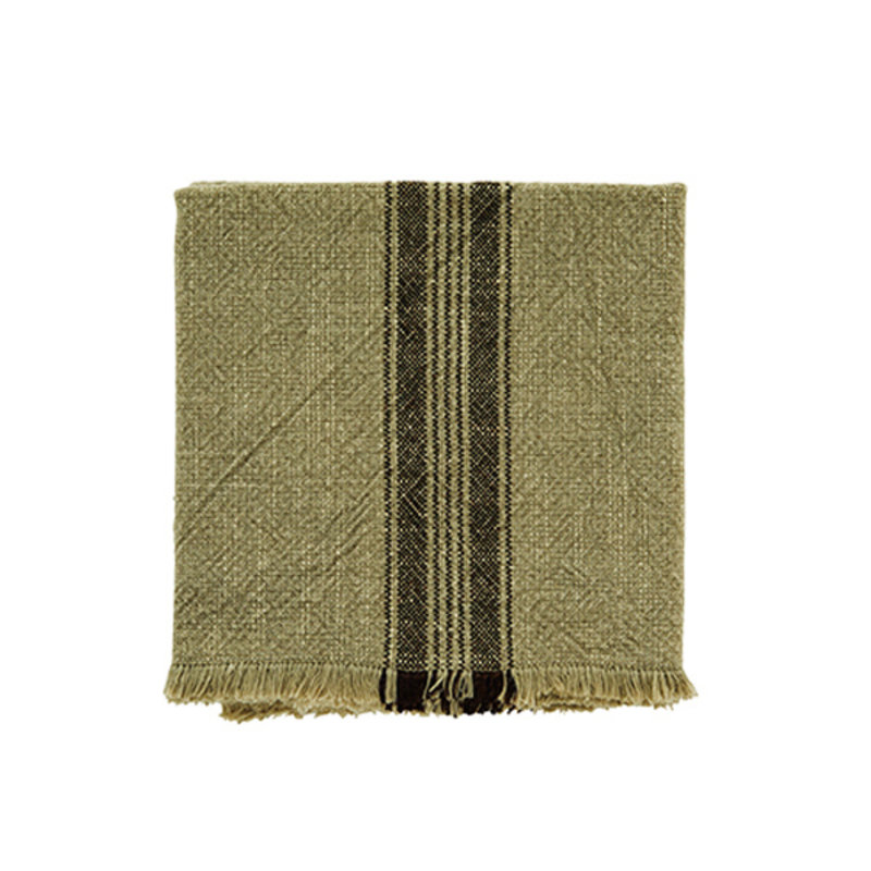 Madam Stoltz-collectie Striped kitchen towel w/fringes khaki