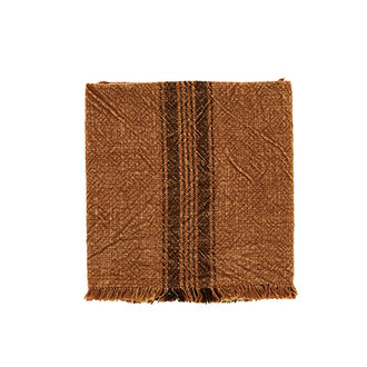 Madam Stoltz Striped kitchen towel w/fringes burned orange
