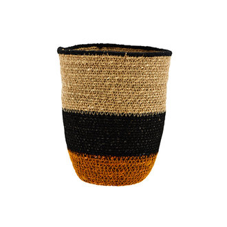 Madam Stoltz Seagrass basket natural, black, orange