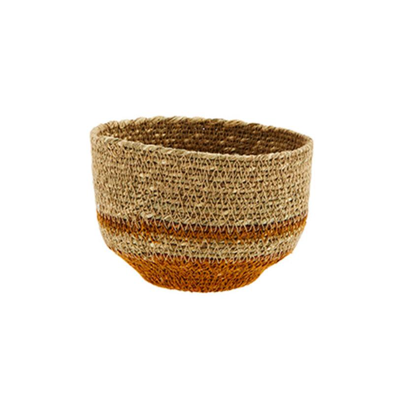 Madam Stoltz-collectie Seagrass basket natural, orange
