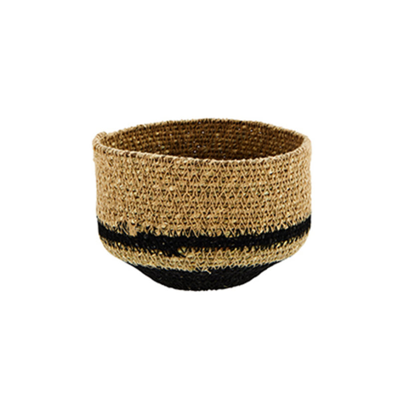 Madam Stoltz-collectie Seagrass basket natural, black