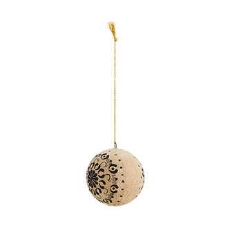 Madam Stoltz Handgemaakte papiermaché kerstbal naturel zwart