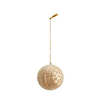 Madam Stoltz Handgemaakte papiermaché kerstbal naturel goud