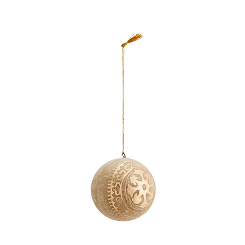 Madam Stoltz-collectie Handgemaakte papier mache kerstbal naturel goud