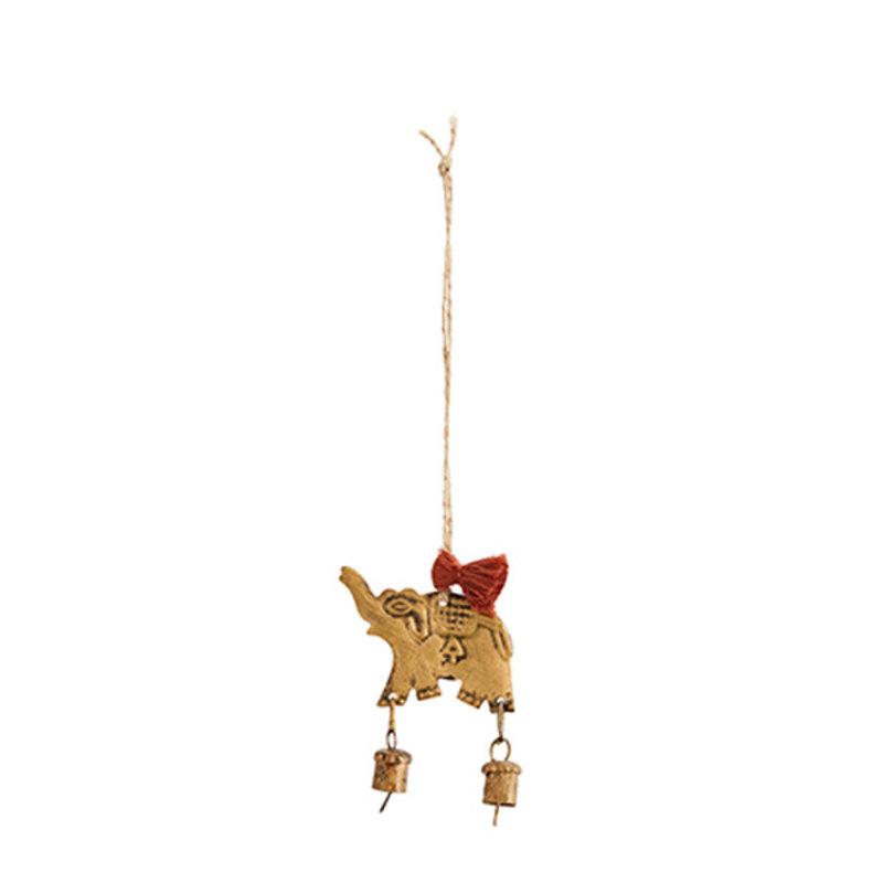 Madam Stoltz-collectie Hanging elephant w/bell
