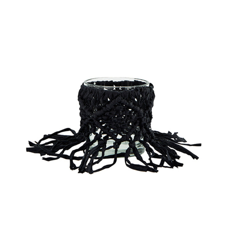 Madam Stoltz-collectie Waxinelichthouder met zwart papieren touw