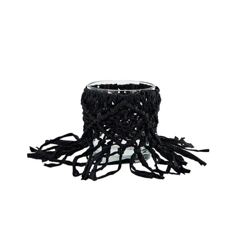 Madam Stoltz-collectie Waxinelichthouder raffia zwart