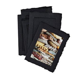 Madam Stoltz Fotolijstjes van recycled papier zwart, set van 6