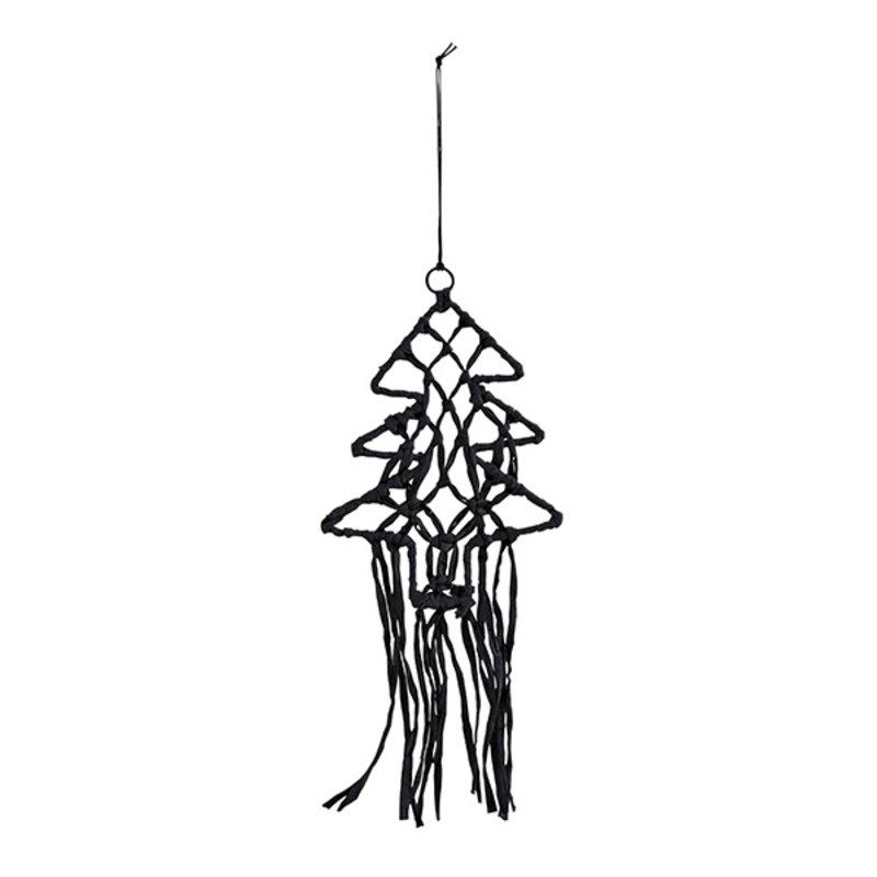 Madam Stoltz-collectie Wandhanger kerstboom zwart