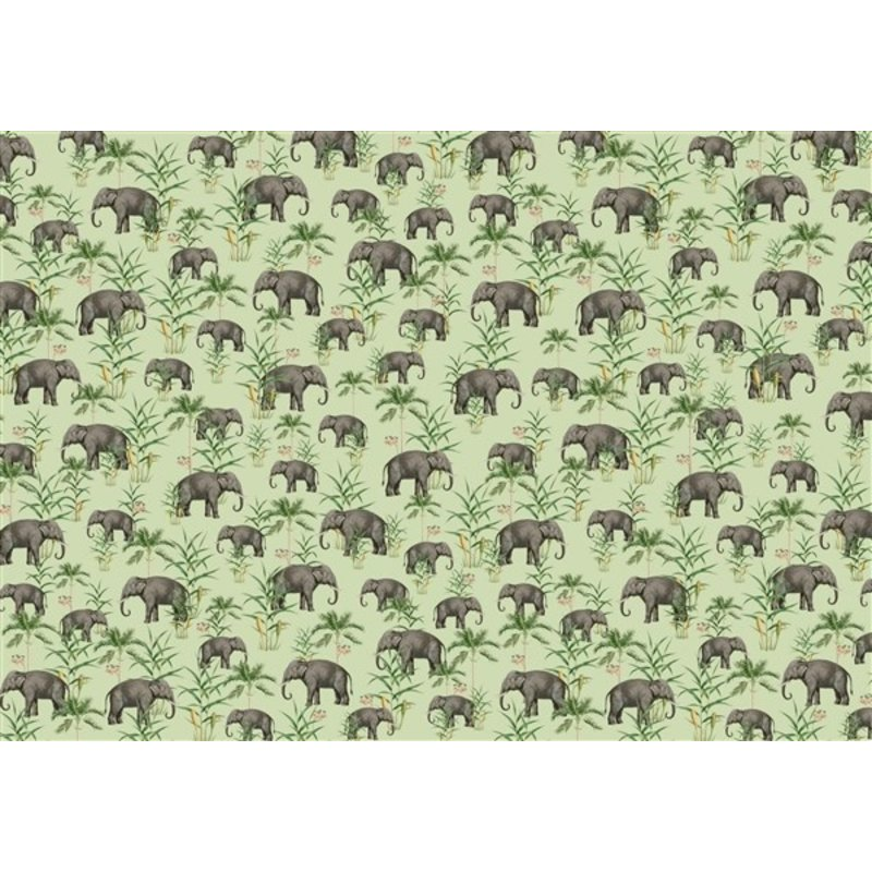 Creative Lab Amsterdam-collectie Oscar the Elephant Green Wallpaper Mural