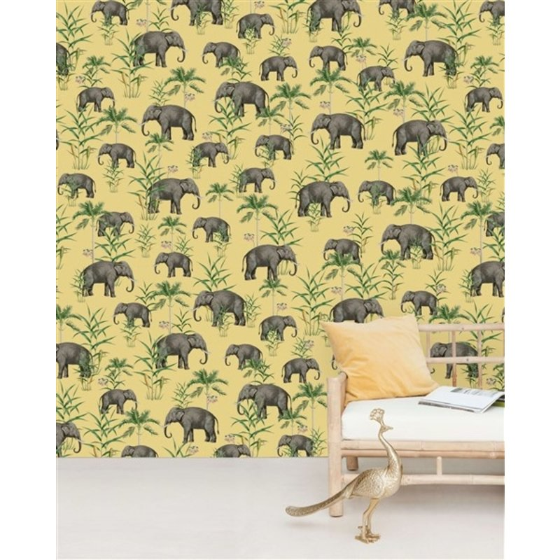 Creative Lab Amsterdam-collectie Oscar the Elephant Yellow behang Mural