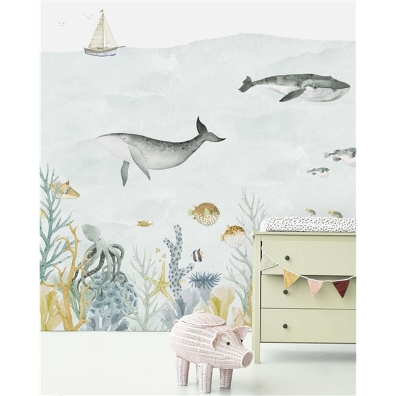 Creative Lab Amsterdam-collectie Sealife Blue behang Mural