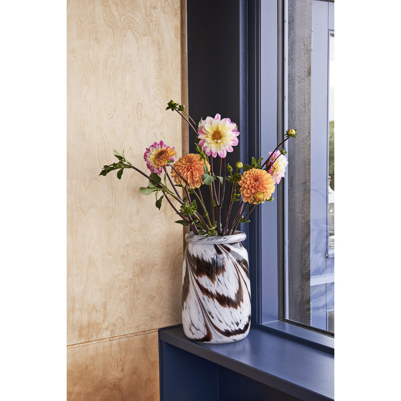HAY-collectie Splash Vase Roll Neck L Koffie en wit