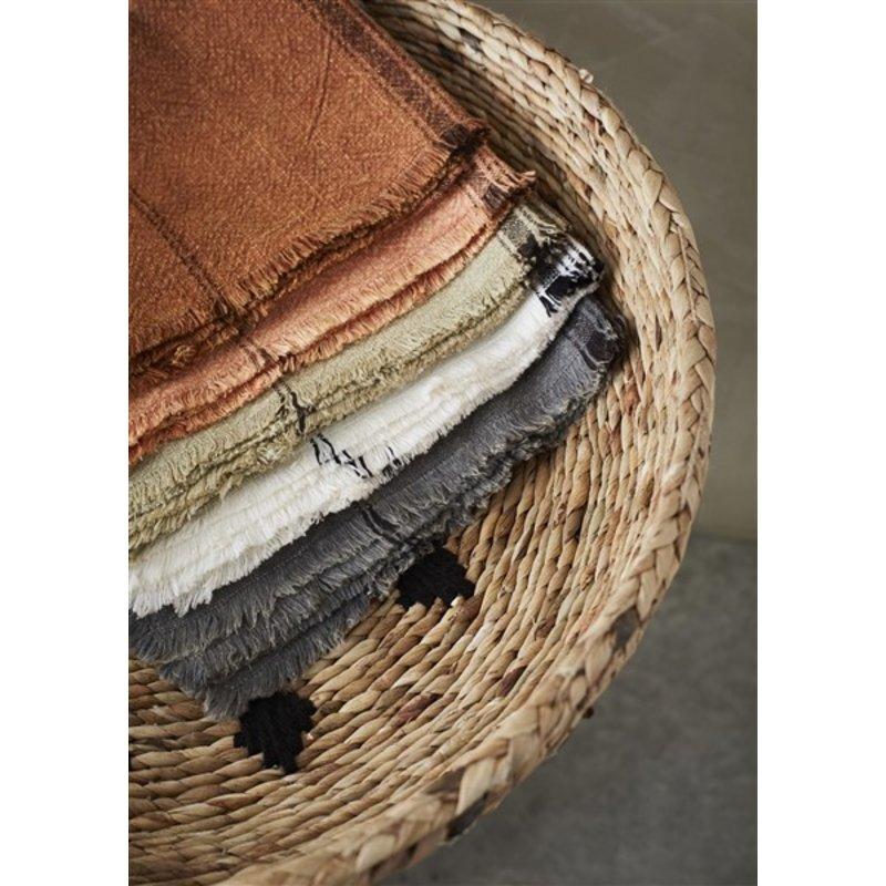 Madam Stoltz-collectie Striped kitchen towel w/fringes dark grey